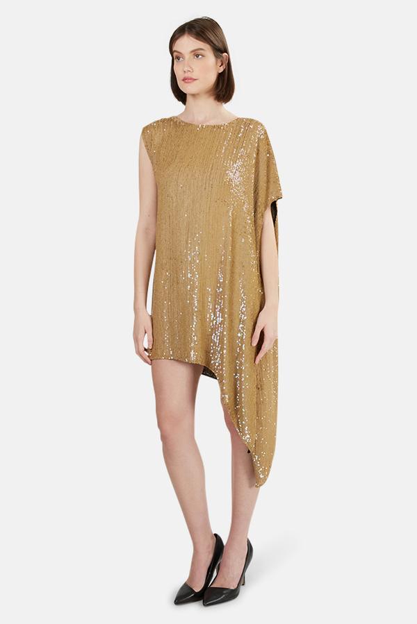 3.1 Phillip Lim Sequin Asymmetrical Draped Dress - Tan