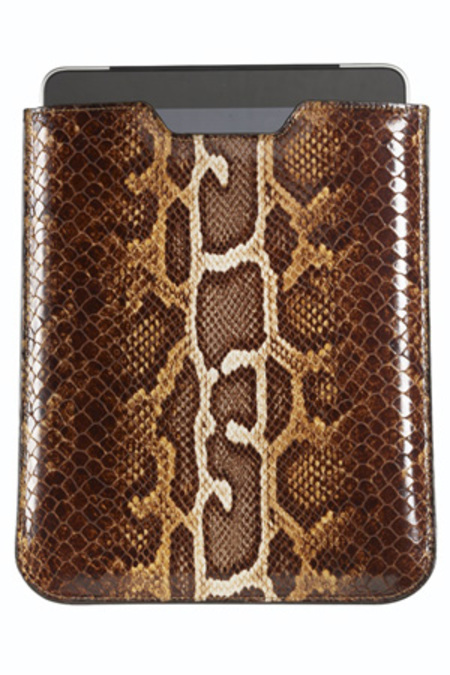 Graphic Image Ipad Sleeve - Faux Brown Python