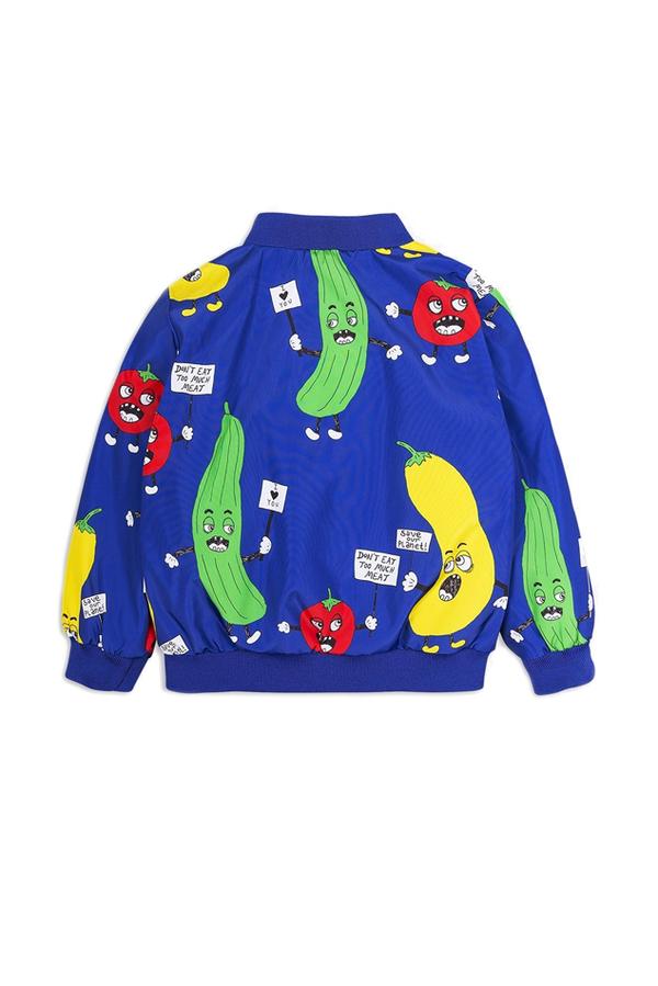 Kids Mini Rodini Veggie Baseball Jacket - Blue