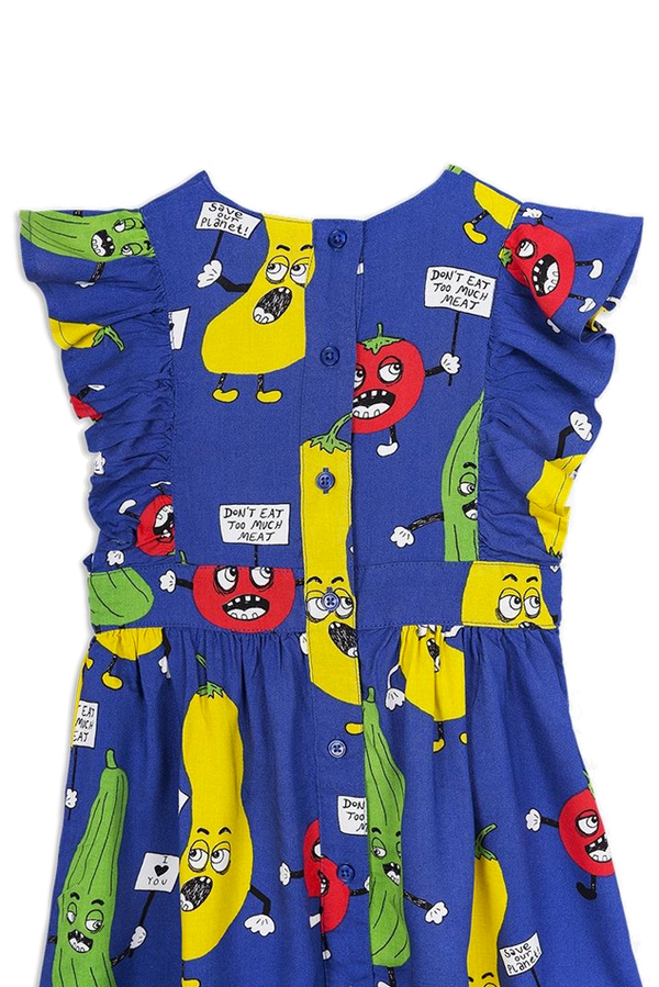 Kids Mini Rodini Veggie Woven Ruffled Dress - Blue