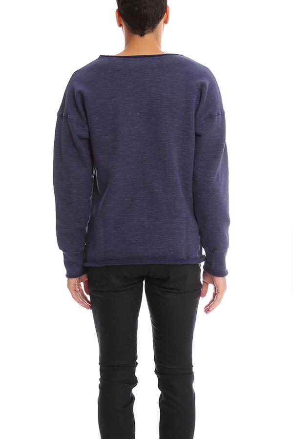 V::Room Stretch Fleece Crew Sweater - Melange Denim