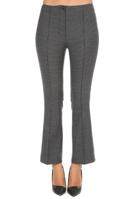 Helmut Lang Houndstooth Cropped Flare Pant - Melange Grey