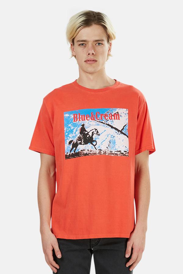 Blue&Cream Ride Graphic T-Shirt - Red