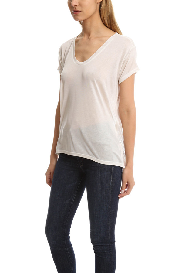 Helmut Lang Scoop Neck Silk T-Shirt - White