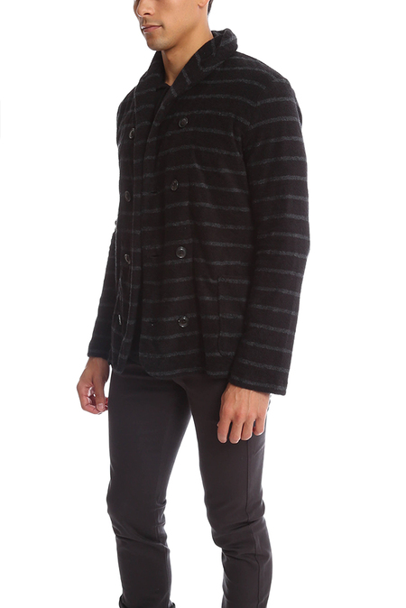 Biography Shawl Collar Double Breast Blazer - Black/Horizontal Grey Stripe