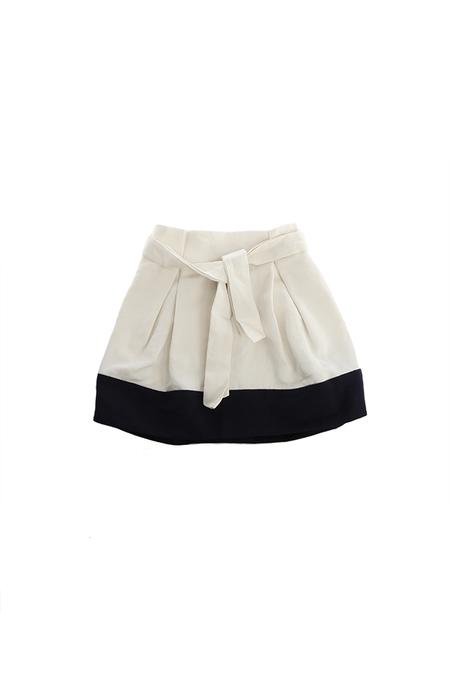 Kids 3.1 Phillip Lim Contrast Hem Waist Tie Skirt - White/Navy