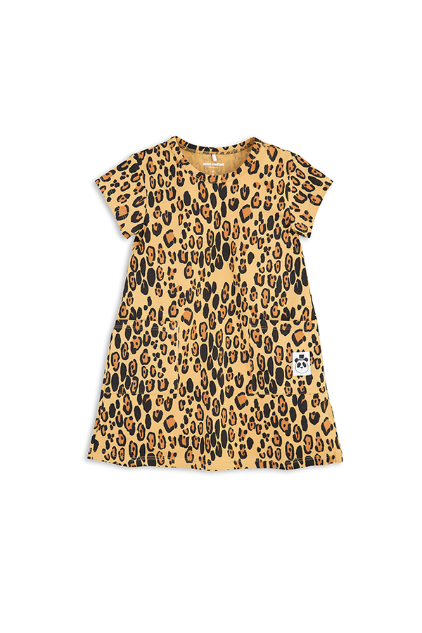 kids Mini Rodini Basic Leopard Dress - Beige/patterned