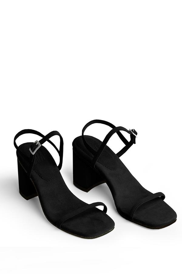 Rafa Vegan Suede Simple Sandal Black Garmentory