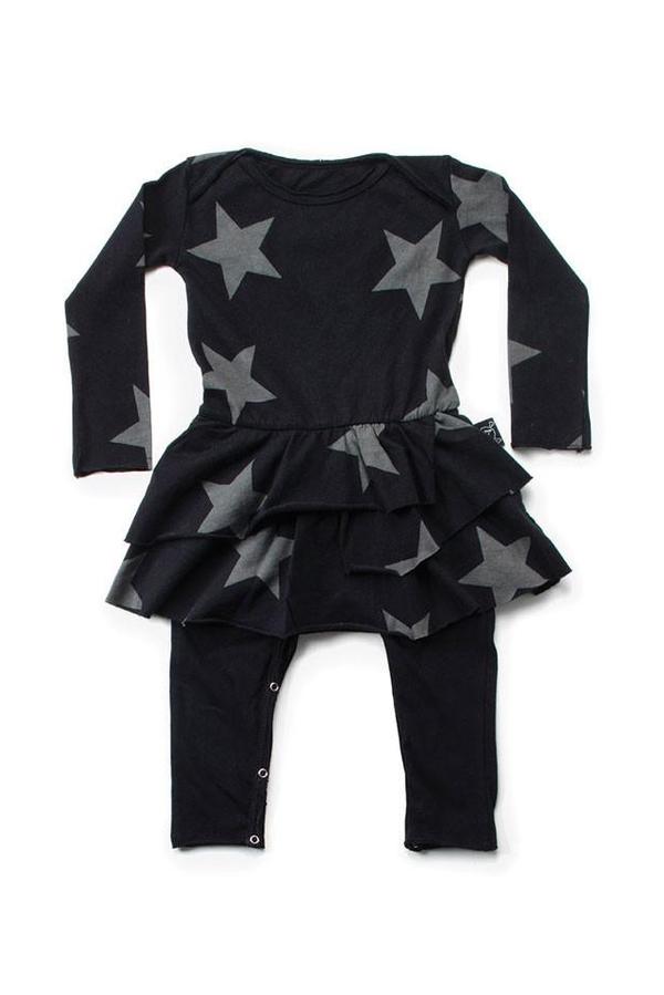 Kids Nununu Star Bodysuit Skirt - Black