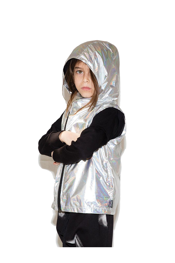 Kids Nununu Nylon Asymmetrical Vest - Silver