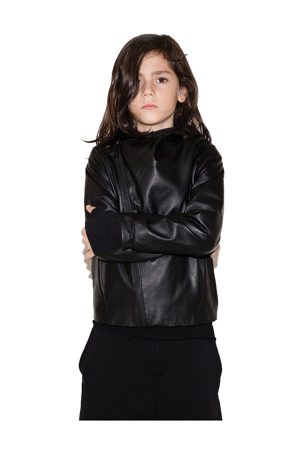 Kids Nununu Hooded Leather Jacket - Black