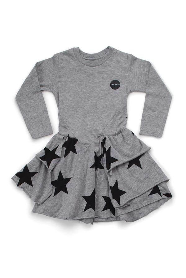 Kids Nununu Layered LS Star Dress - Heather Grey