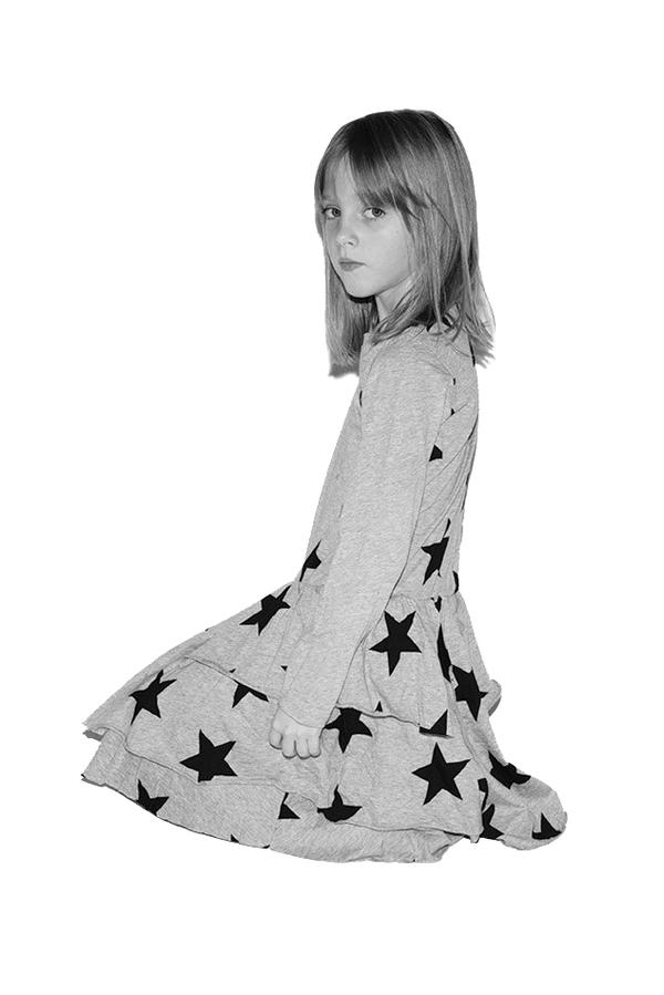 Kids Nununu Layered LS Star Dress - Pink