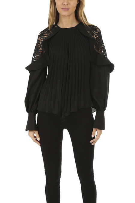 self-portrait Lace Shoulder Top - Black