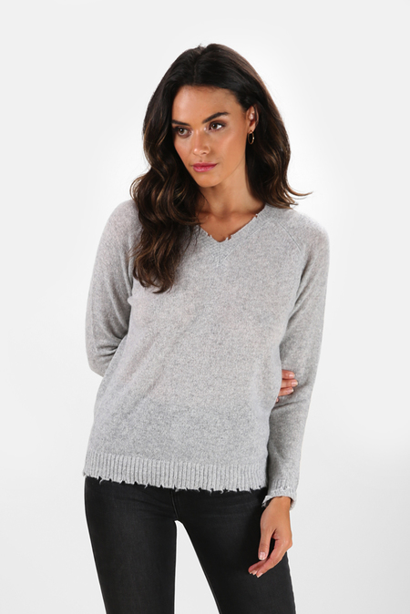 Minnie Rose Cashmere V Neck Sweater - Light Heather