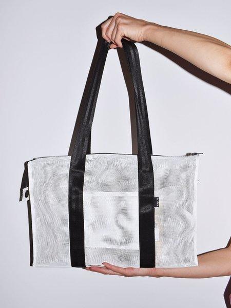 Walker Bags Nylon Mesh Shoulder Tote - White