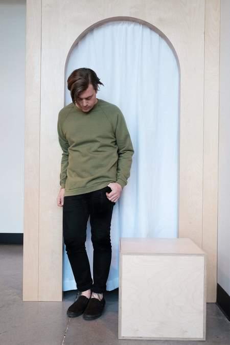 Raleigh Denim Workshop Raglan Sweatshirt - Olive Green