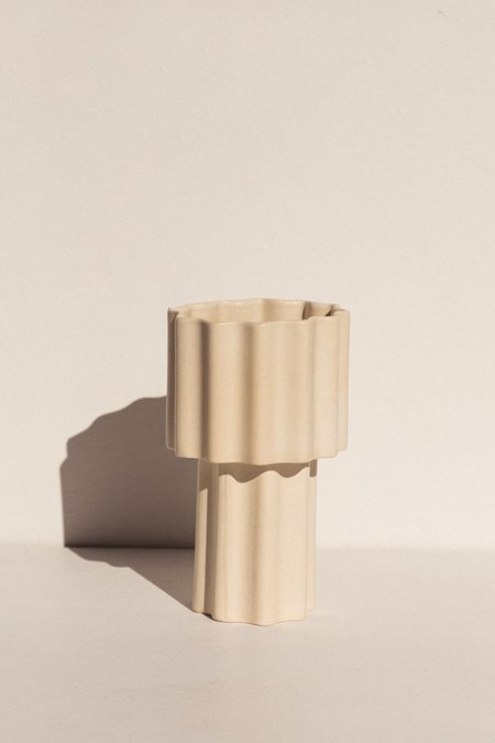 Ella Reweti Tall Tapered Vase - Chalk