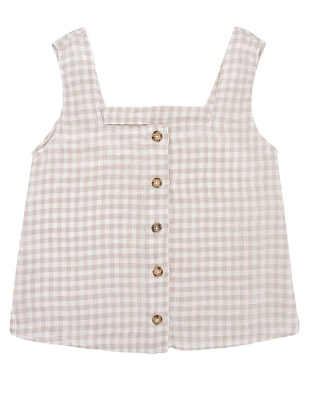 ESBY GINA TOP - CAFE GINGHAM