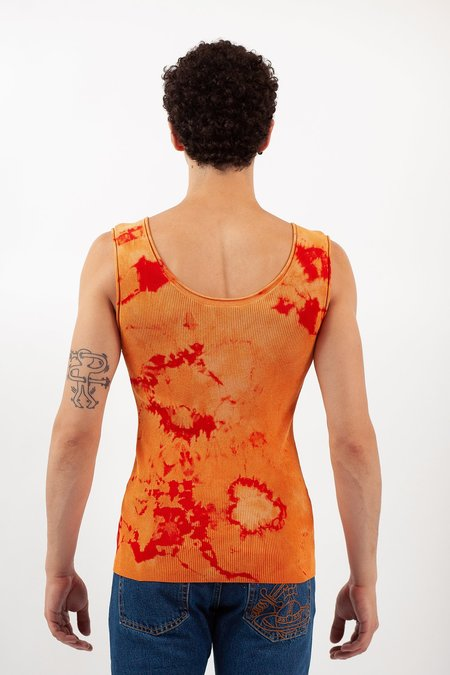 Occhii Tie Dye Cardigan Tank - Orange/Red