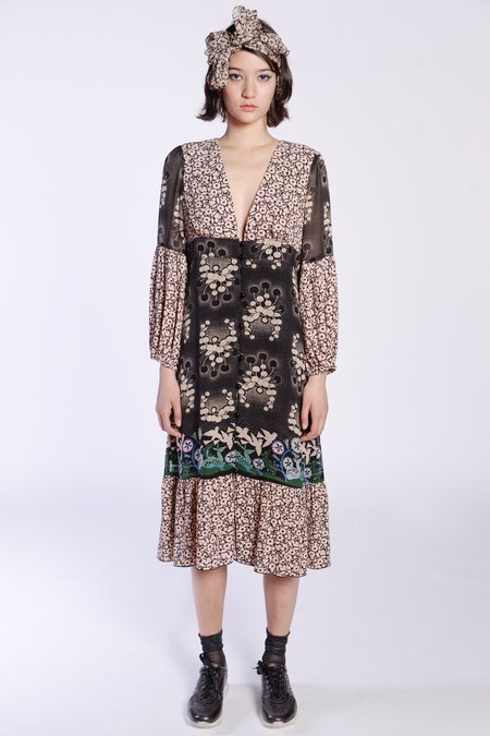 Anna Sui Daisy Delights V-Neck Dress - Black Multi