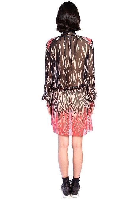 Anna Sui Love's Flame Chiffon Tie Front Dress - Black Lipstick