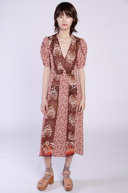 Anna Sui Wild Cherry Border Chiffon V-Neck Dress - Cocoa Multi