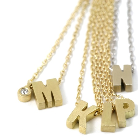 Marian Maurer Micro Initial w. Diamond Necklace - 18K Gold