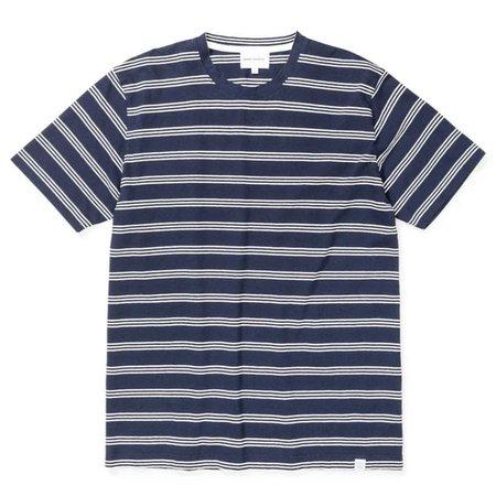 Norse Projects Johannes Cotton Linen Stripe T shirt - Dark Navy