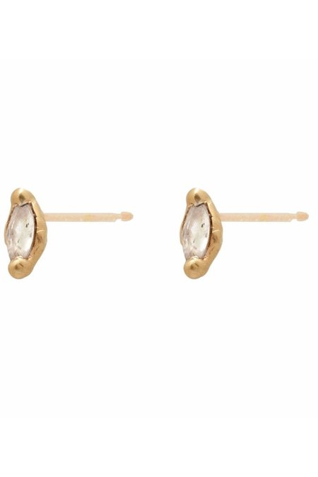 Valley Rose Ara White Sapphire earrings - Yellow Gold