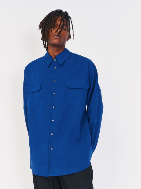 HOUSE OF THE VERY ISLANDS DRIVE SHAFT OVERSIZED SHIRT JACKET - BLUE