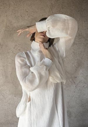 K M by L A N G E Windy Asymmetric Dress - White