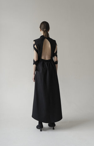 K M by L A N G E Open Back Lena Dress - Black