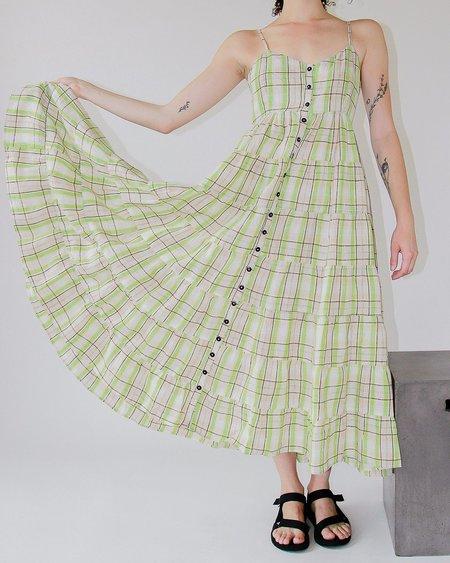 Ajaie Alaie Baila Dress - Plaid Wasabi