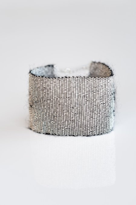 Stephanie Schneider Woven Silver And Mohair Bracelet