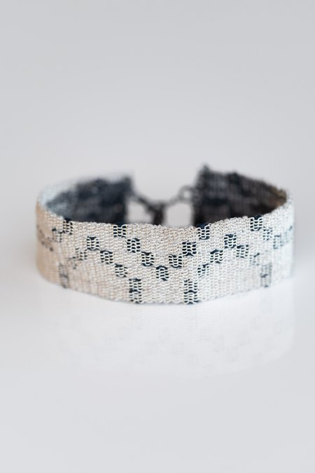 Stephanie Schneider Woven Silver/Silk Bracelet