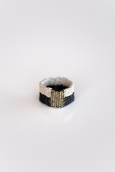 Stephanie Schneider Woven Silver/Silk And Gold Plated Ring