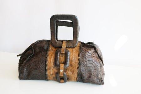 [Pre-loved] Calvin Klein Python Top Handle Bag - Brown