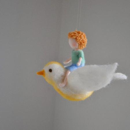 Shop Merci Milo Wool Felt Mobile Hanging Bird Mobile with Boy