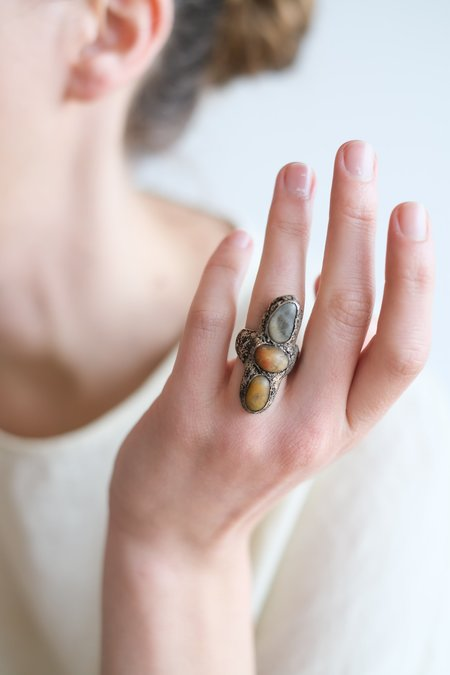 Lou Zeldis THREE STONE RING - STERLING SILVER