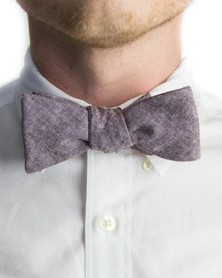 Forth and Nomad Chambray Bowtie - Eggplant