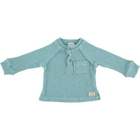 Kids Tocotó Vintage Long-Sleeved Ribbed Tee - Acqua