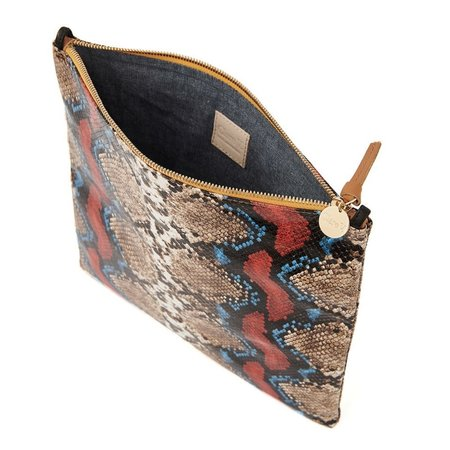 Clare V. Foldover Clutch with Tabs - Garden Snake