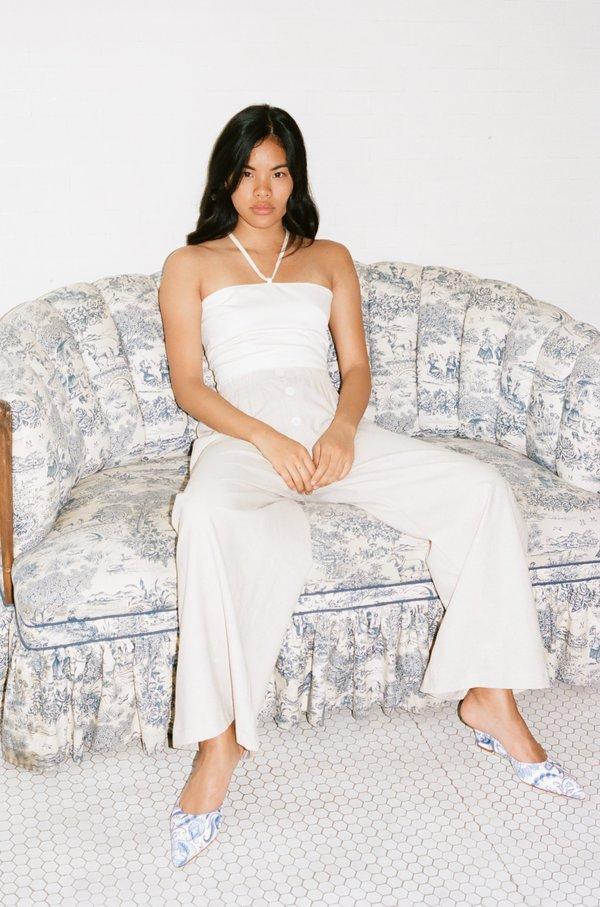Lisa Says Gah Cotton Satin Simone Halter Top - Ivory