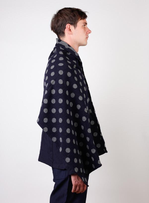 Engineered Garments Polka Dot Jacquard Button Shawl - Navy/Grey