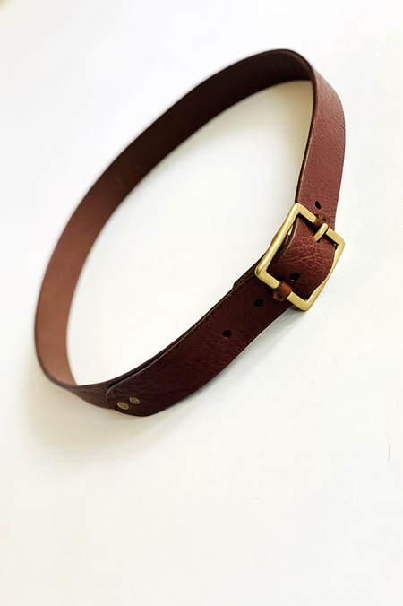 De Palma Mona Leather Belt - Bark/Brass