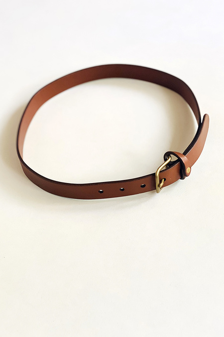 De Palma Mon Senor Leather Belt - Tobacco/Brass