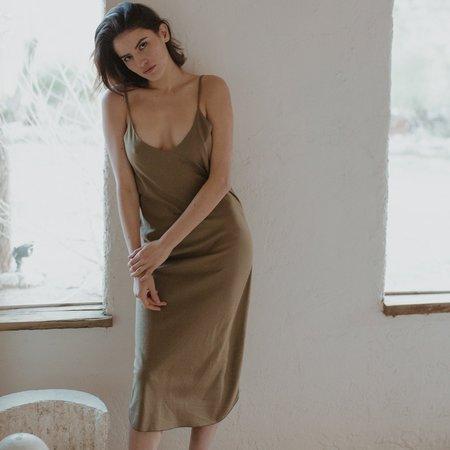 Ozma Bias Slip Dress - Olive