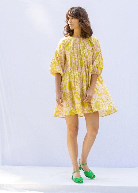 Whit Pintuck Dress - Pink/Green