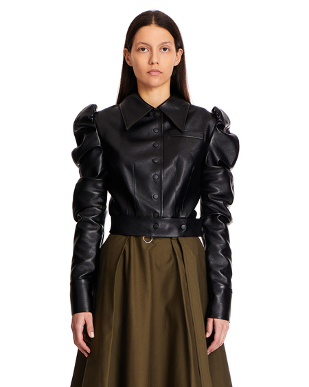 Matériel Faux Leather Crop Jacket - Black